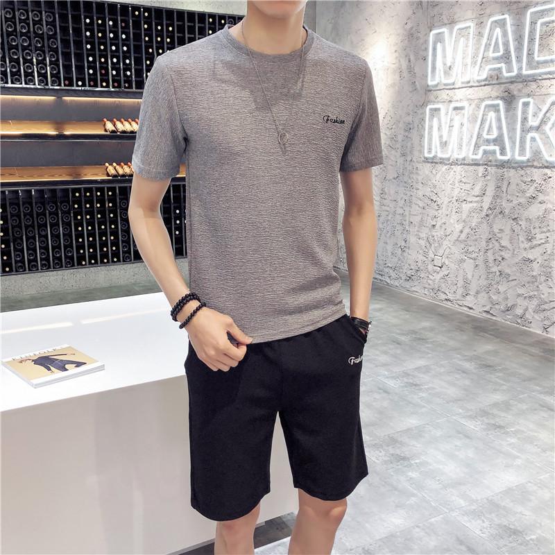 男士夏季休闲运动套装 夏季新款薄款透气韩版修身短袖短裤两件套装 时尚潮