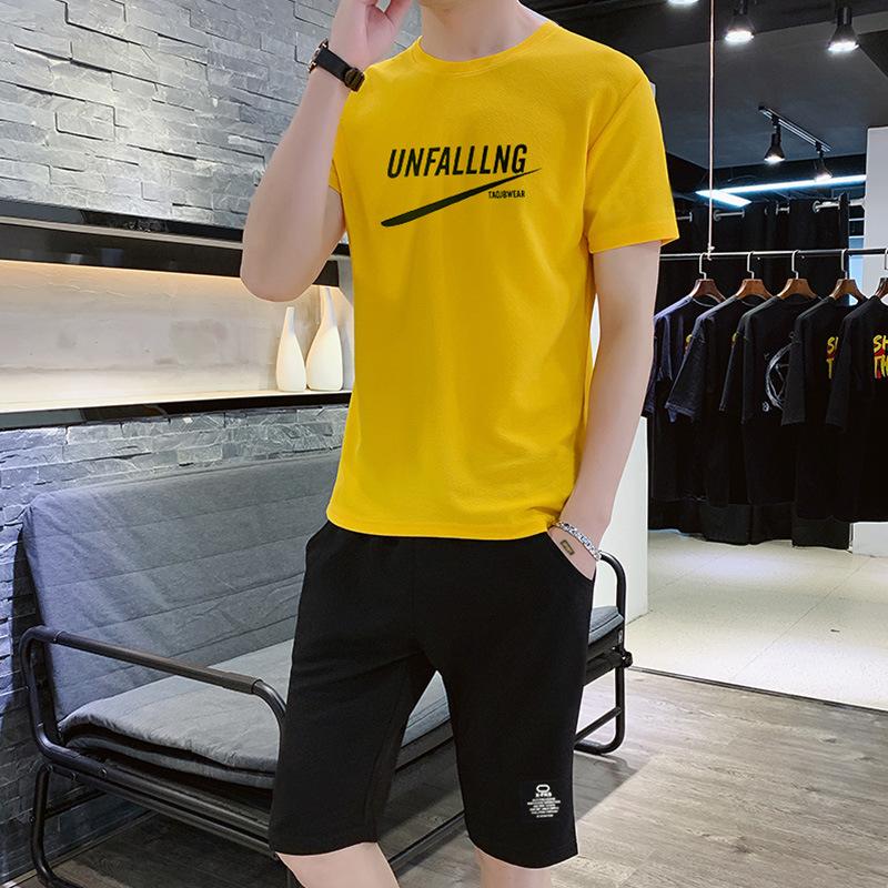 夏季潮流运动套装 新款韩版修身短袖短裤休闲两件套装