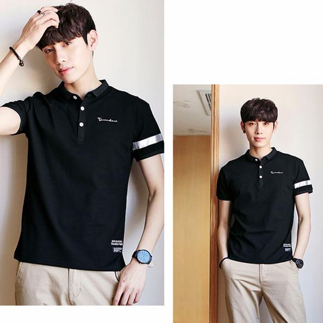 新款夏季男式Polo衫 短袖青年潮T恤 半袖印花休闲翻领T恤