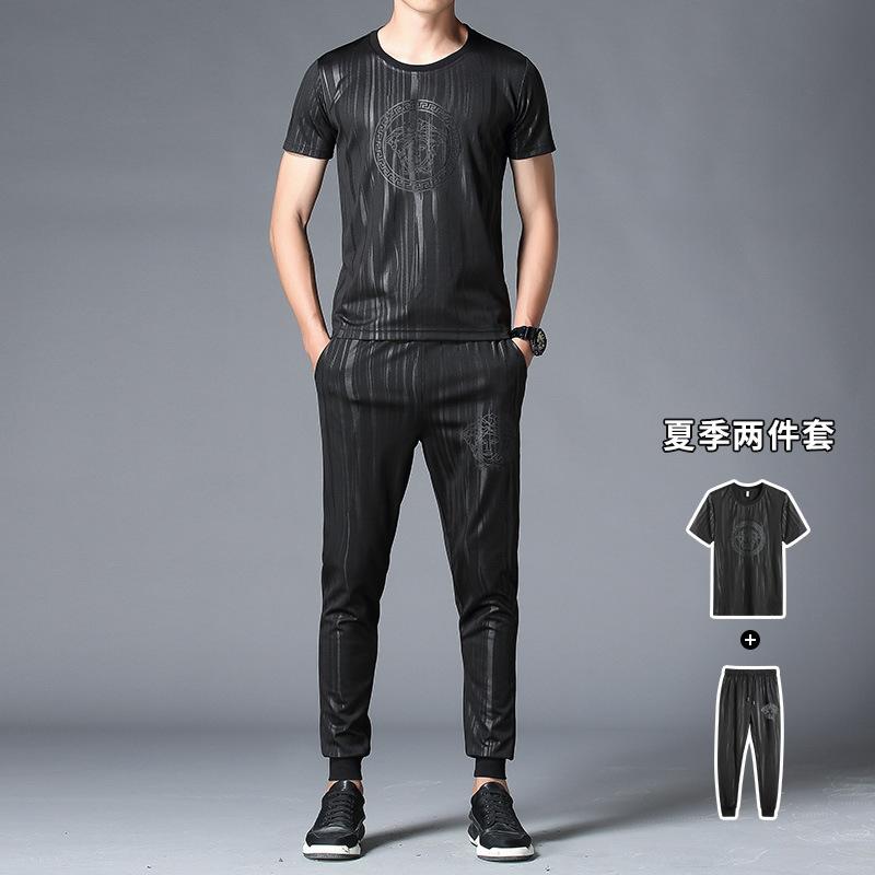春夏新款时尚短袖T恤套装男 韩版休闲修身潮流T恤套装 夏季男式T恤套装