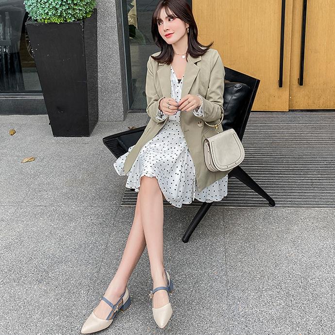 夏季新款 时尚中跟包头玛丽珍凉鞋女 韩版粗跟凉鞋 一字扣网红女鞋