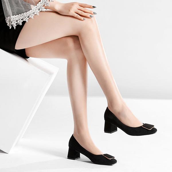 新款时尚职业高跟鞋 春夏新款尖头粗跟浅口皮鞋 黑色百搭OL通勤女鞋