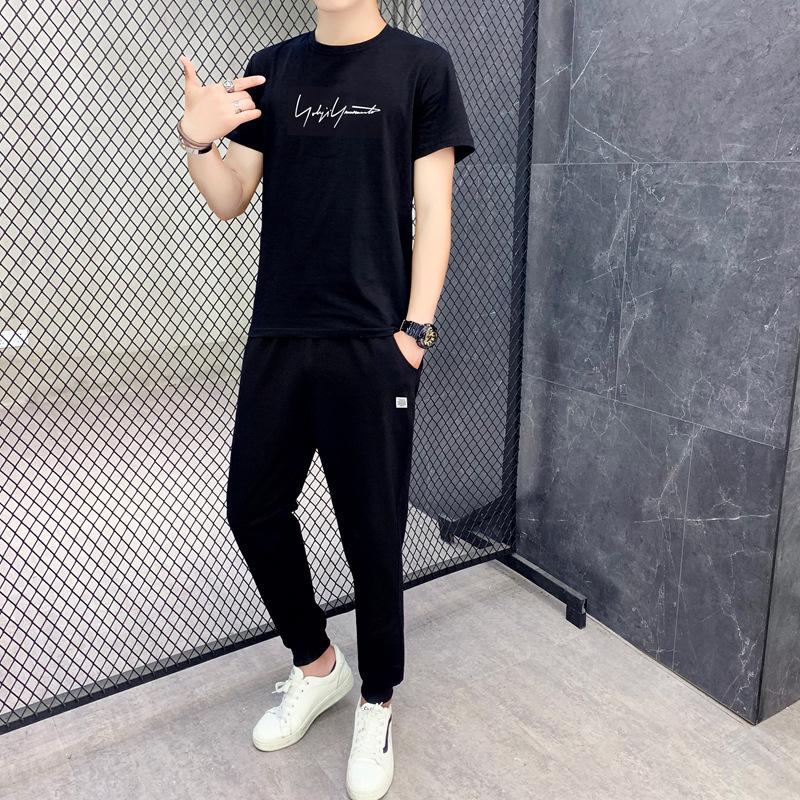 新款春夏季休闲运动套装男 韩版休闲修身短袖长裤圆领套装 休闲跑步套装
