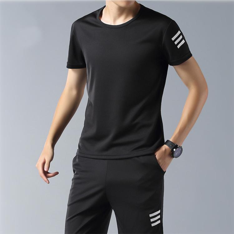 潮流时尚短袖运动套装男 夏季休闲运动套装 速干衣宽松短袖跑步健身两件套潮