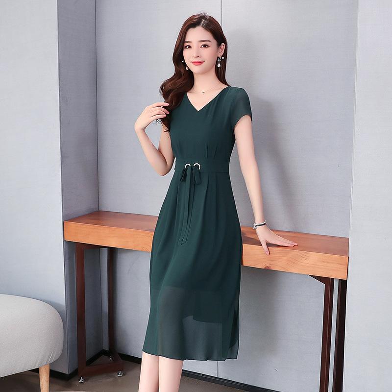 新款时尚雪纺连衣裙女 夏季新款气质韩版高腰过膝纯色长裙
