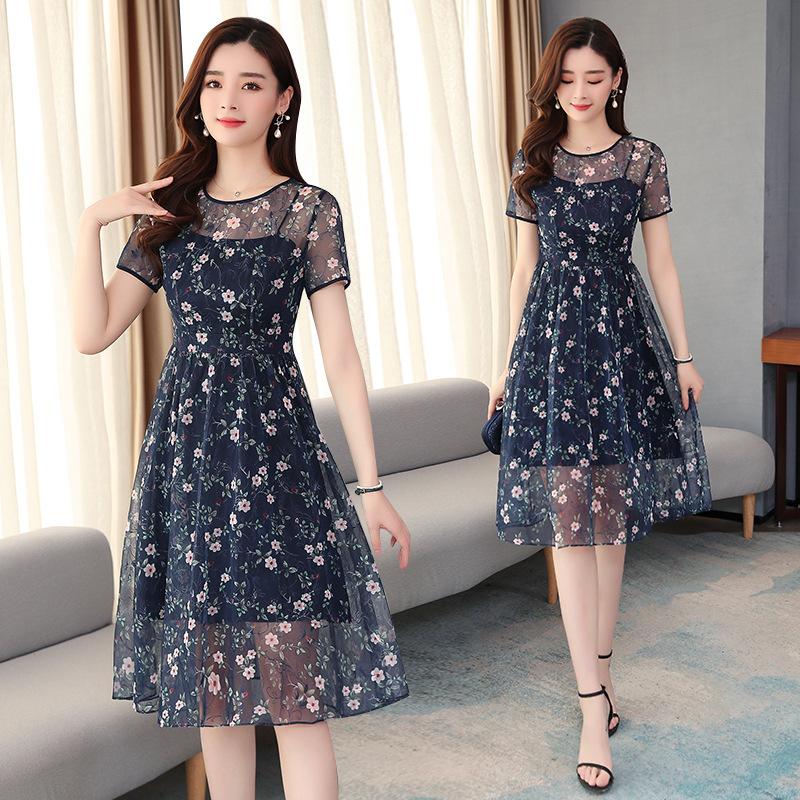 夏季新款 时尚显瘦网纱碎花收腰显瘦连衣裙 中长款连衣裙