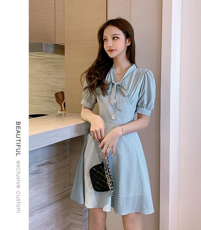 夏季新款 女装气质小碎花连衣裙 优雅时尚修身显瘦中长A字连衣裙