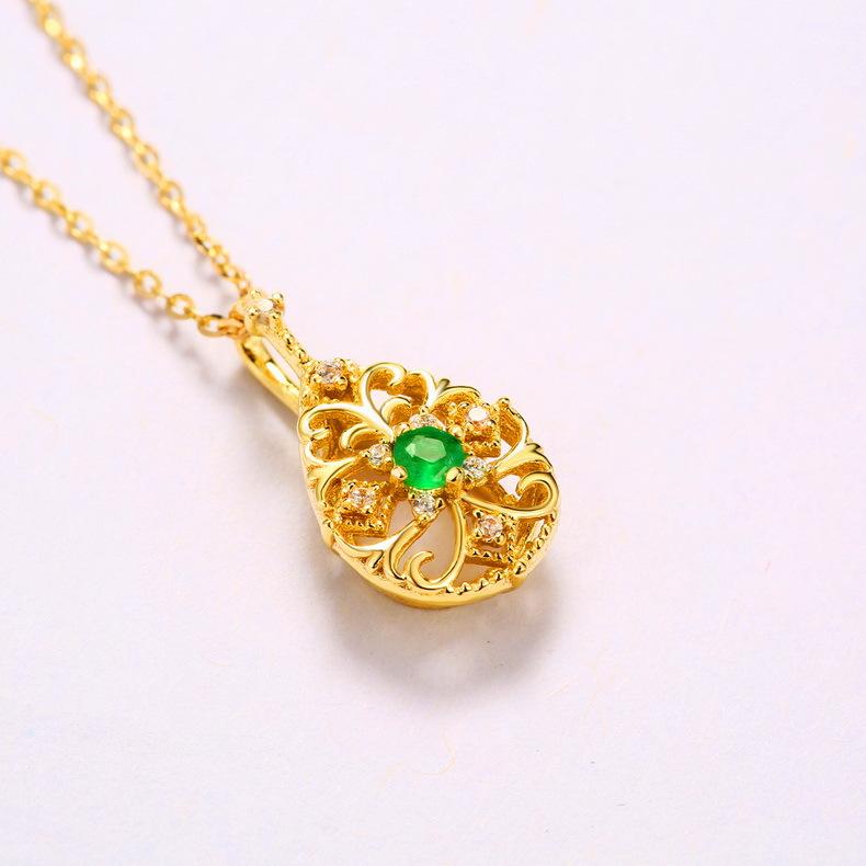 经典复古天然祖母绿水滴首饰套装 日本轻奢镂空花纹手饰品套装 S925纯银