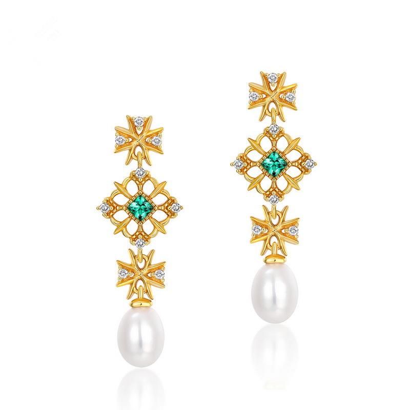 新款时尚 国潮时尚复古宫廷风耳环 高端中国风耳钉 珍珠耳饰
