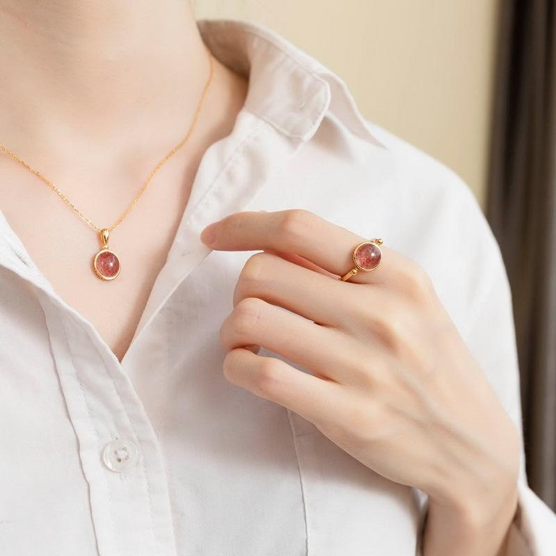 S925银天然草莓晶糖果色银饰套装 简约甜蜜森系几何戒指 吊坠