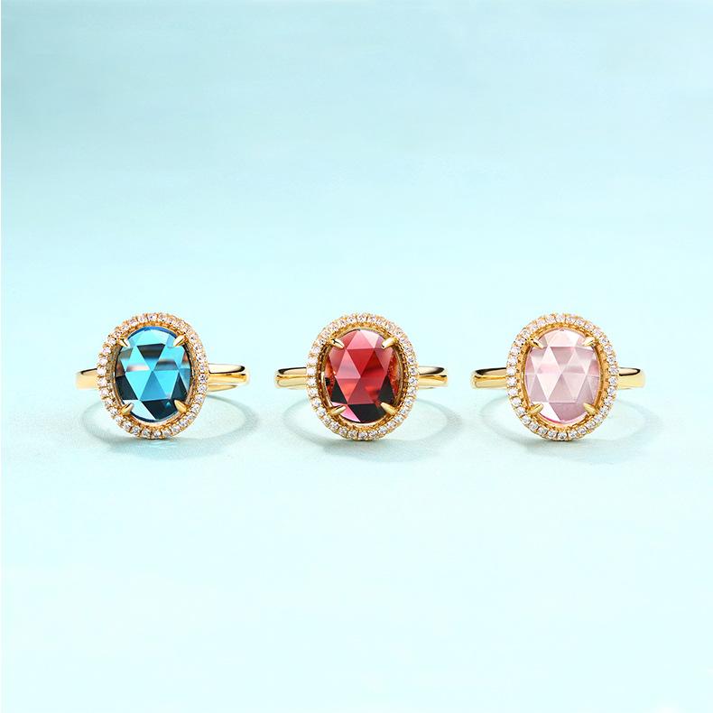 S925纯银镀金 时尚个性手饰蛋形丝带伦敦蓝托帕石复古戒指