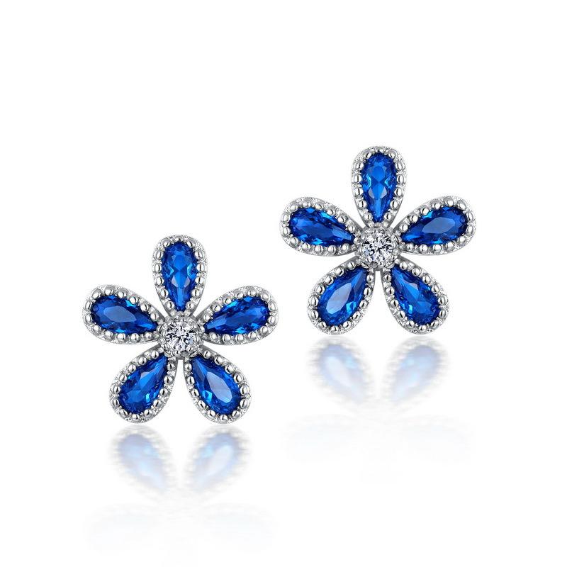 春夏新款 欧美蓝色花耳钉 S925纯银鸡蛋花卉耳环 情人节礼物耳饰