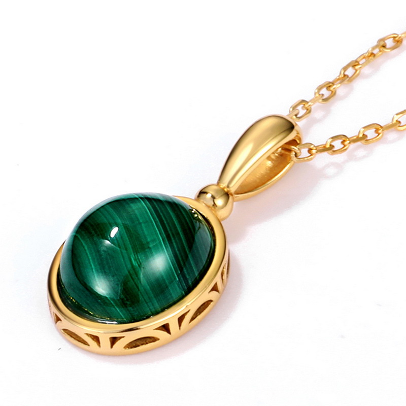 时尚日本简约天然孔雀石糖果首饰套装 925银镀金彩宝几何戒指项饰套装