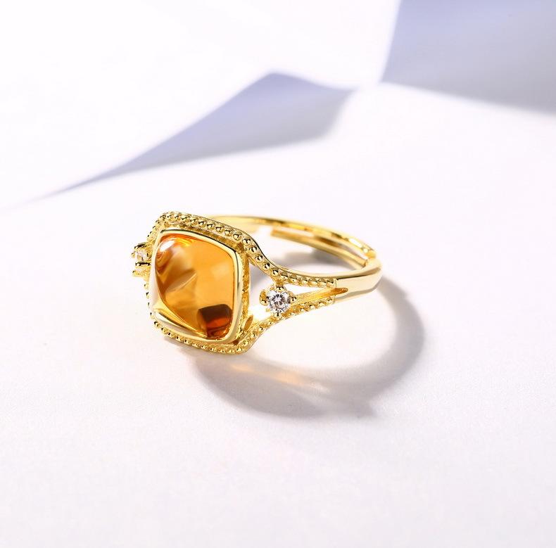 时尚新款 百搭红石榴玫瑰金戒指 开口指环 甜美粉水晶指环