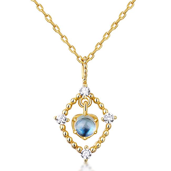 日韩新款简约纯银首饰 方形镂空蓝月光可活动吊坠