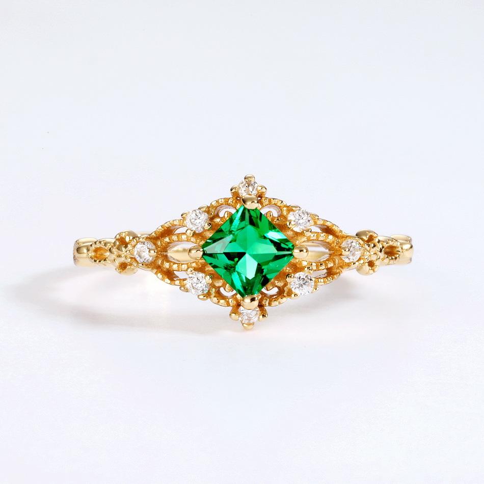 新款气质复古指环女 S925纯银镀金食指戒指 个性尾戒 时尚简约戒指