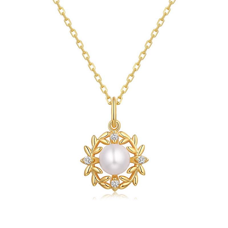 日韩潮流配饰项链 天然珍珠橄榄枝桂冠925银镀9K金吊坠