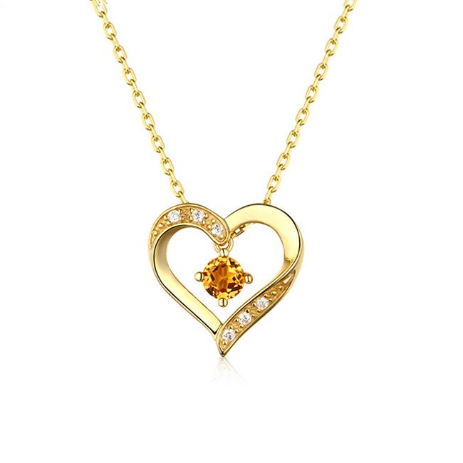 时尚新款项链 S925纯银心形黄水晶托帕石芙蓉石紫晶石吊坠