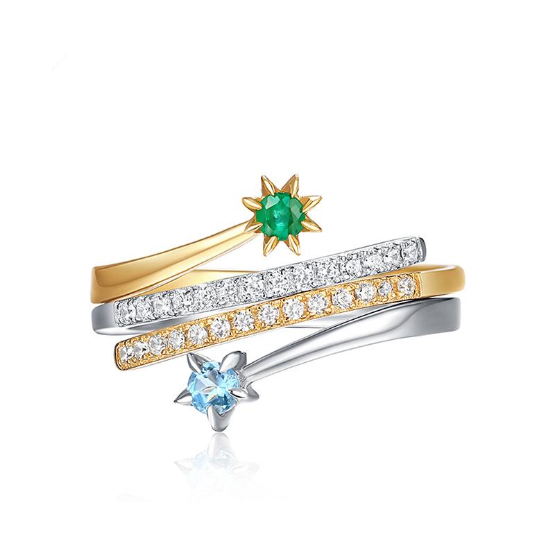 欧美时尚风百搭指环 个性拼色戒指 潮人戒指
