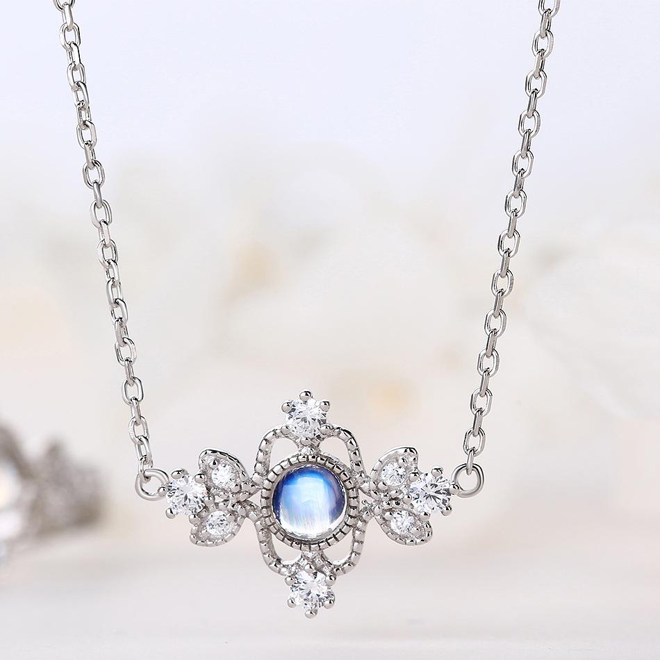 日韩轻奢 天然蓝月光纯银首饰套装 925银复古公主恋人送礼珠宝饰品