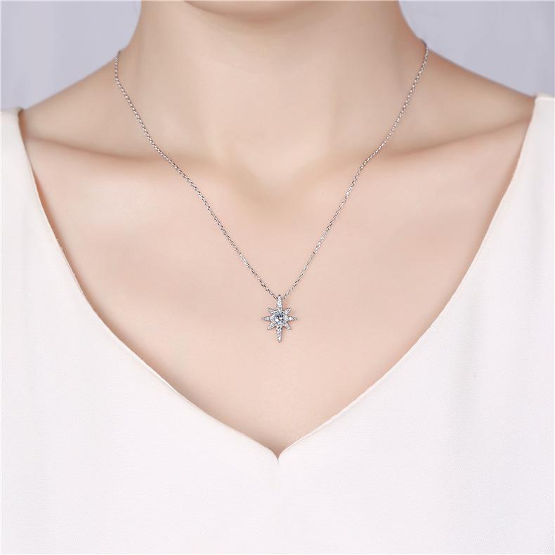 日韩时尚 六芒星粉水晶纯银吊坠首饰 米字镶钻吊坠 锁骨链