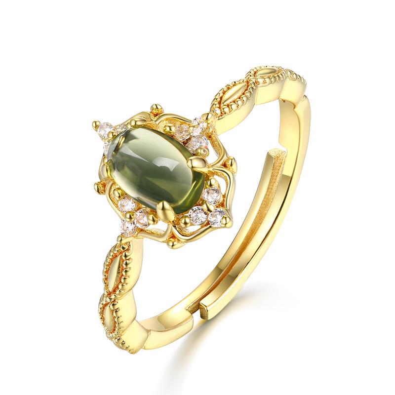 日系轻奢首饰 花卉复古活口镀金彩宝戒指 S925纯银橄榄石指环
