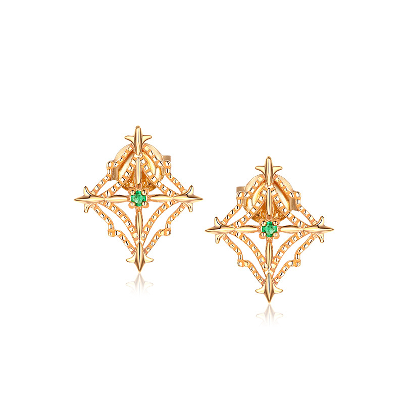 S925纯银 天然祖母绿复古菱形砍珠边镂空耳钉 彩宝耳饰