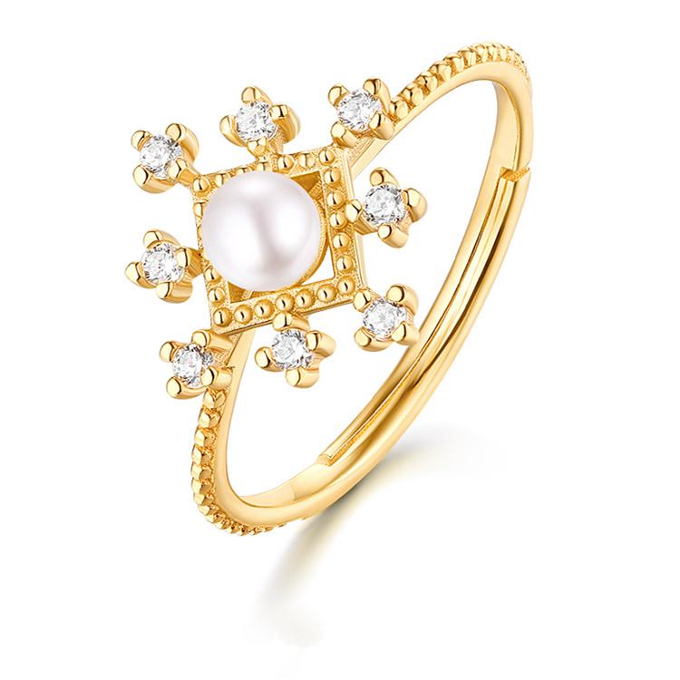 925银镀9K金珍珠雪花轻奢珠宝首饰套装 日本复古气质百搭饰品套装