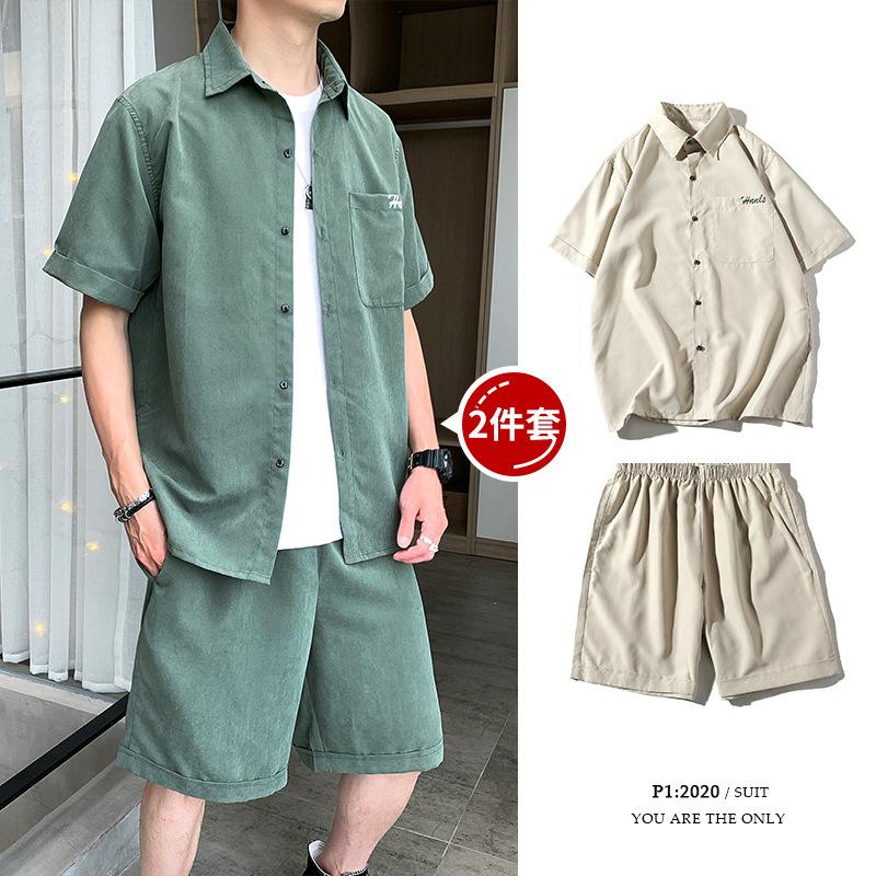 夏季潮流衬衫套装 男士休闲宽松ins潮流套装 搭配男装 短袖帅气衬衣