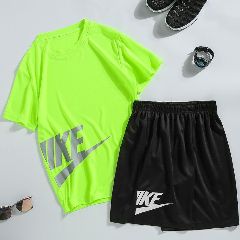 新款 潮流印花男士夏季短袖T恤运动套装 休闲时尚跑步篮球服套装