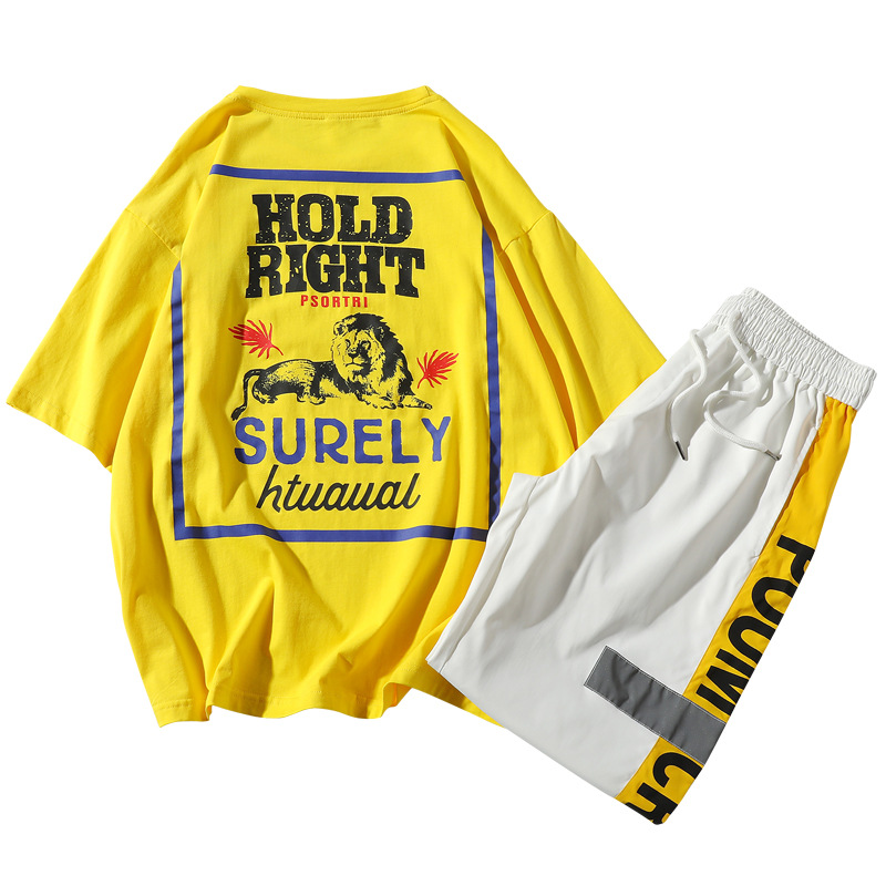 夏季新款 短袖休闲运动套装ins潮 男士休闲上衣T恤短裤两件套