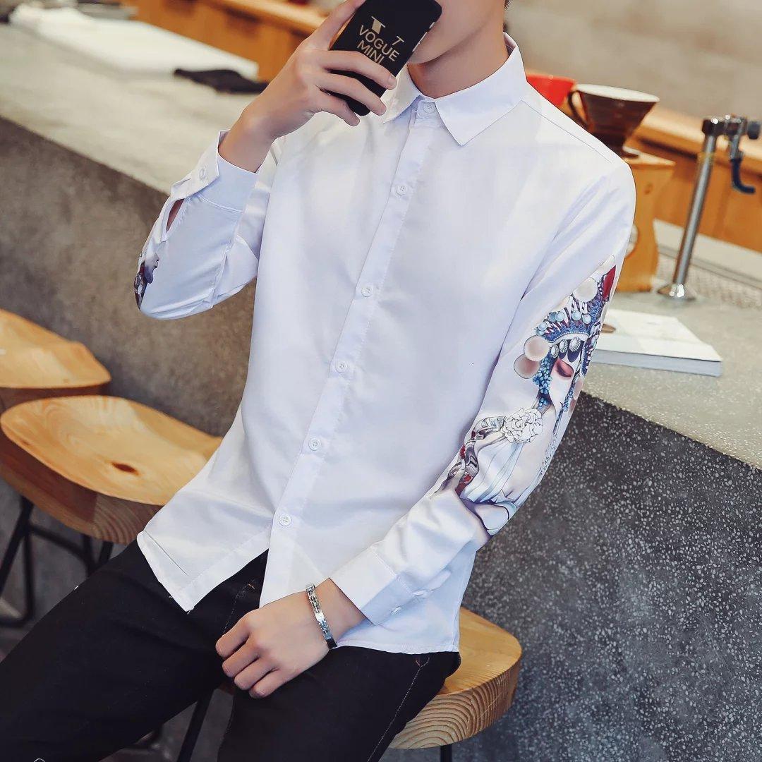 春夏新款 街头潮酷长袖衬衫 青年印花免烫休闲衬衣 男装学生长袖衬衫