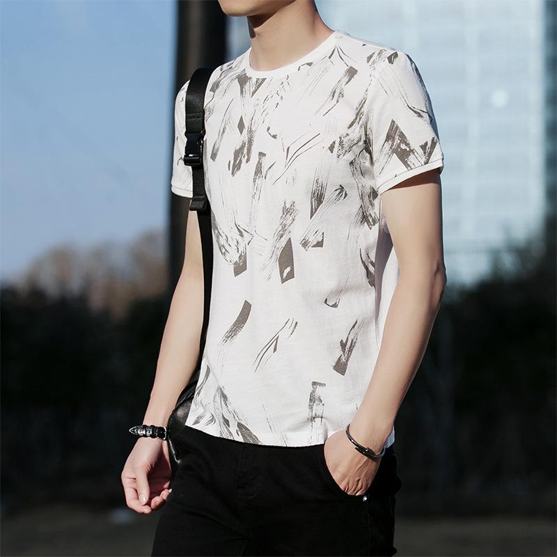 夏季新款 男式印花短袖T恤 韩版修身圆领T恤 学生休闲潮T恤