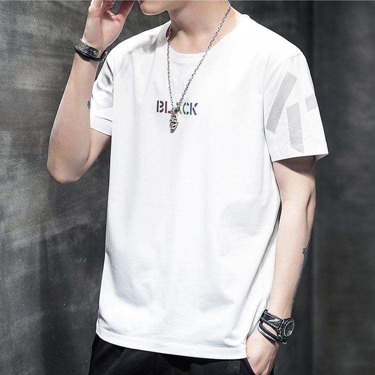 夏季新款 圆领短袖T恤 韩版青年半袖上衣 时尚休闲印花T恤