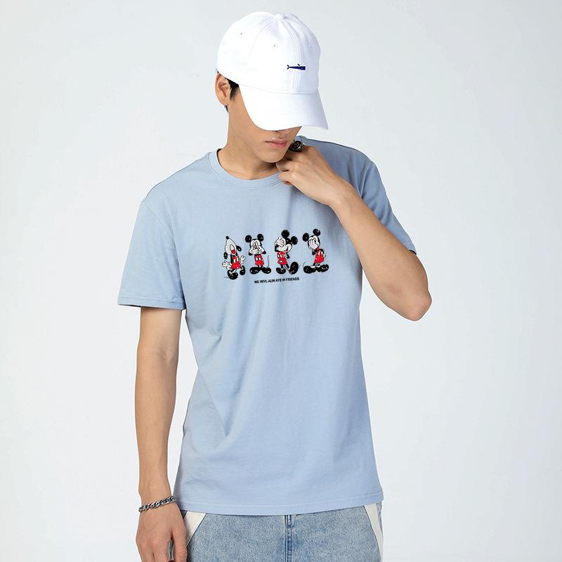 夏季新款 简约米老鼠图案套头短袖T恤 青春流行圆领男式T恤