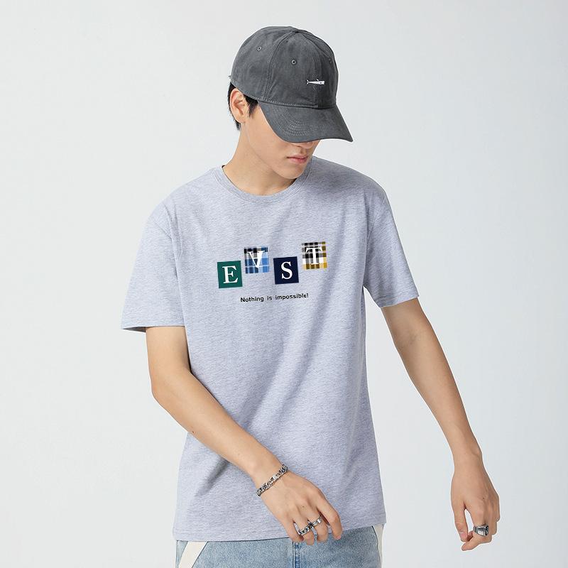 夏季新款 宽松大码男式短袖T恤 纯棉圆领文字印花T恤 夏季潮流