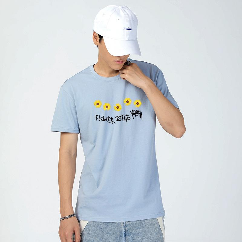 夏季现款 简约花卉英文字母图案套头短袖T恤 青春流行圆领男式T恤