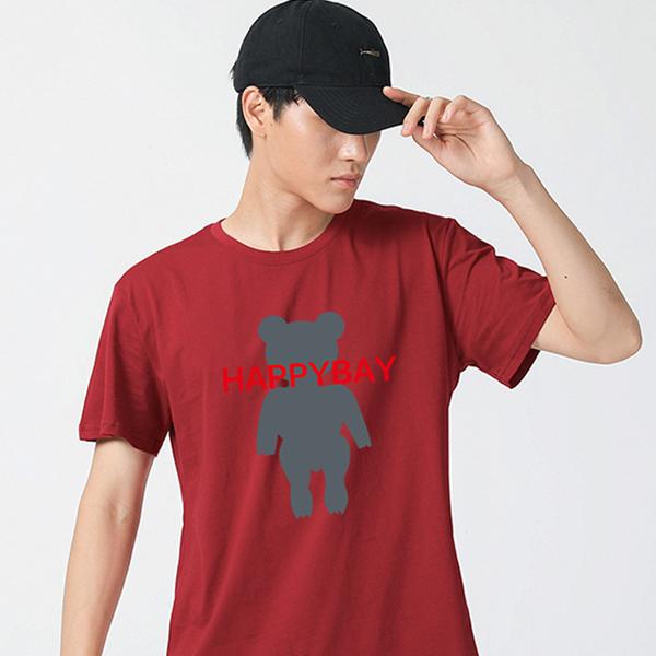 夏季新款 小熊字母男式短袖T恤 纯棉圆领休闲印花T恤 大码T恤