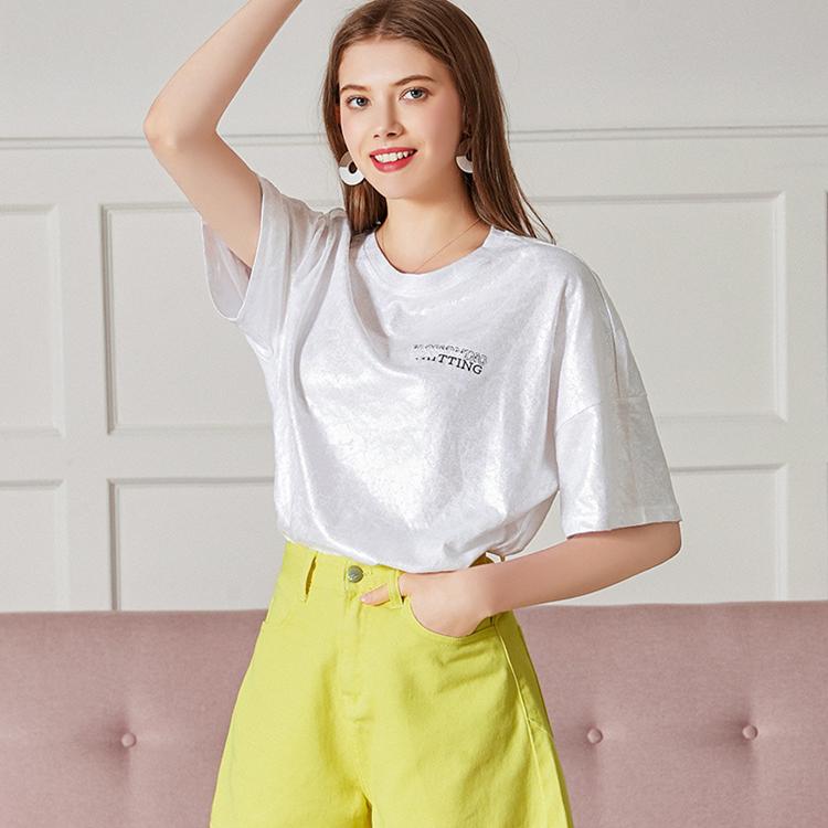 夏季新款 女装短袖T恤休闲套装 纯色女士牛仔短裤气质减龄休闲套装