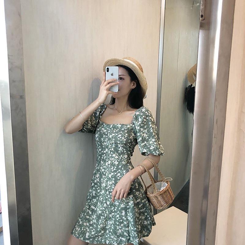 潮流新款 雾霾蓝连衣裙 超仙流行法式复古气质长款宫廷碎花裙 韩版青年学生时尚连衣裙