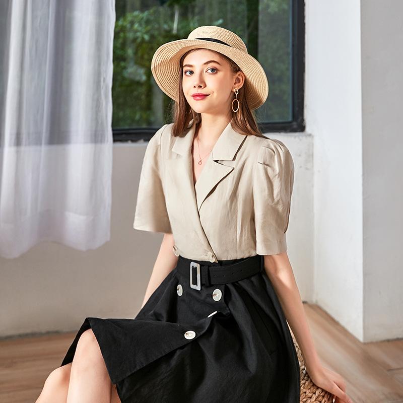 夏装新款 温柔风甜美优雅连衣裙套装 气质西装领时尚拼接连衣裙