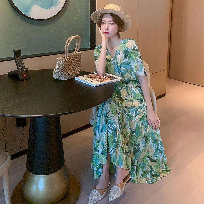 夏季新款 女装时尚雪纺印花收腰显瘦气质长裙 修身显瘦仙女连衣裙