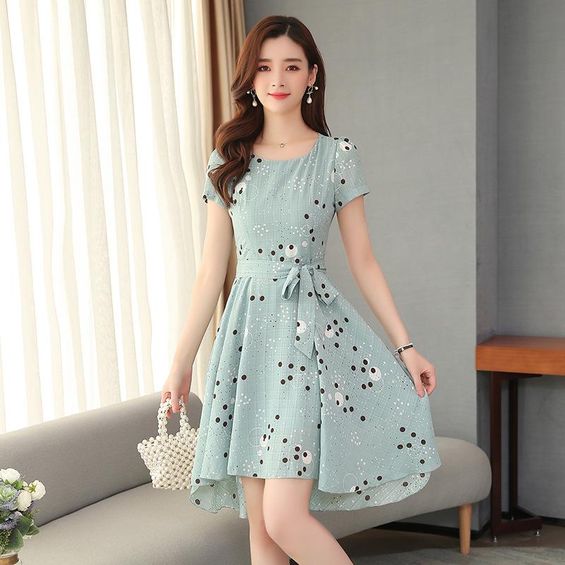 仙女高腰波点雪纺连衣裙 夏季新款 时尚潮流显瘦气质修身A字裙