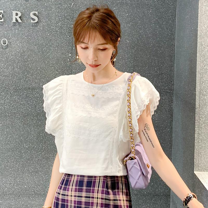 夏季新款 韩版时尚甜美蕾丝花边上衣荷叶边衬衫