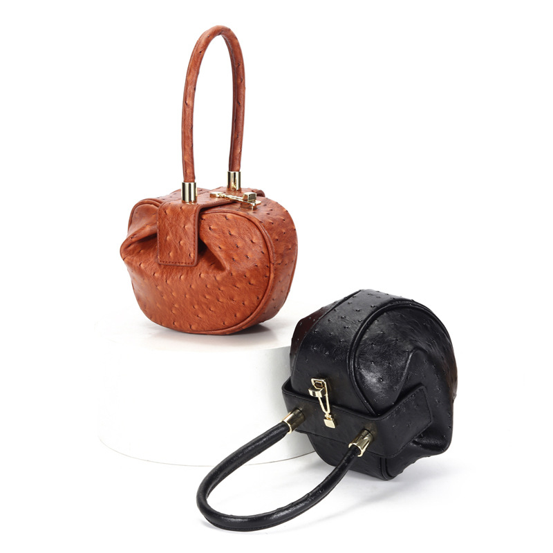 新款时尚真皮女包 欧美小众设计馄饨手提包 云吞饺子包