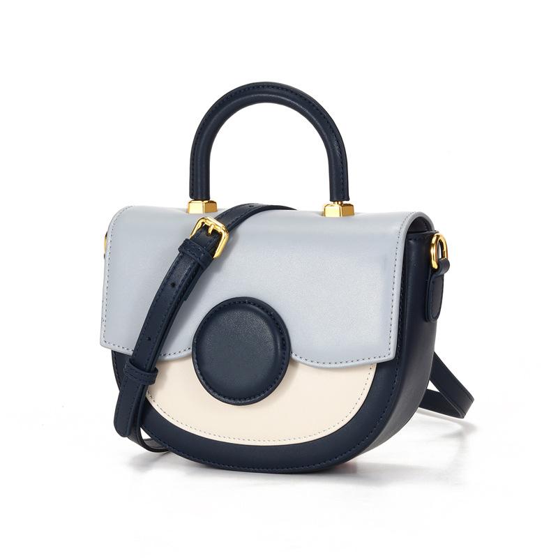 典雅设计真皮女包 金属手提马鞍包 简约时尚半圆包 单肩斜挎包