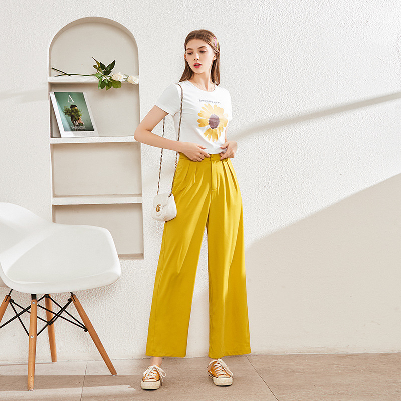 夏季新款 小雏菊印花圆领短袖短款T恤+高腰直筒阔腿裤套装 拖地裤套装