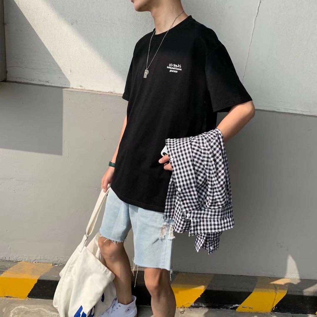 短袖T恤 夏季港风chic上衣帅气T恤 男士宽松半袖ins休闲T恤