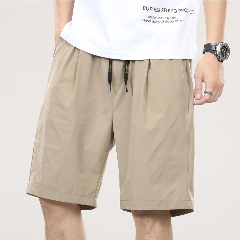 夏季新款 纯色休闲短裤男 冰丝日系复古宽松五分裤男