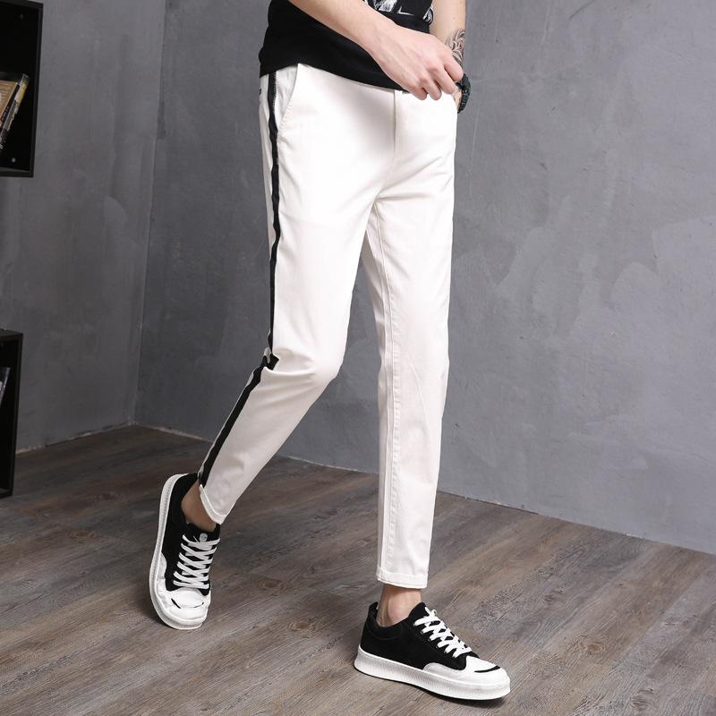 春夏新款 经典男式休闲裤 弹力白色黑竖杠弹力休闲裤 青年九分裤西裤